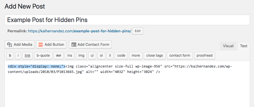 How to Add A Hidden Pin on Your Blog