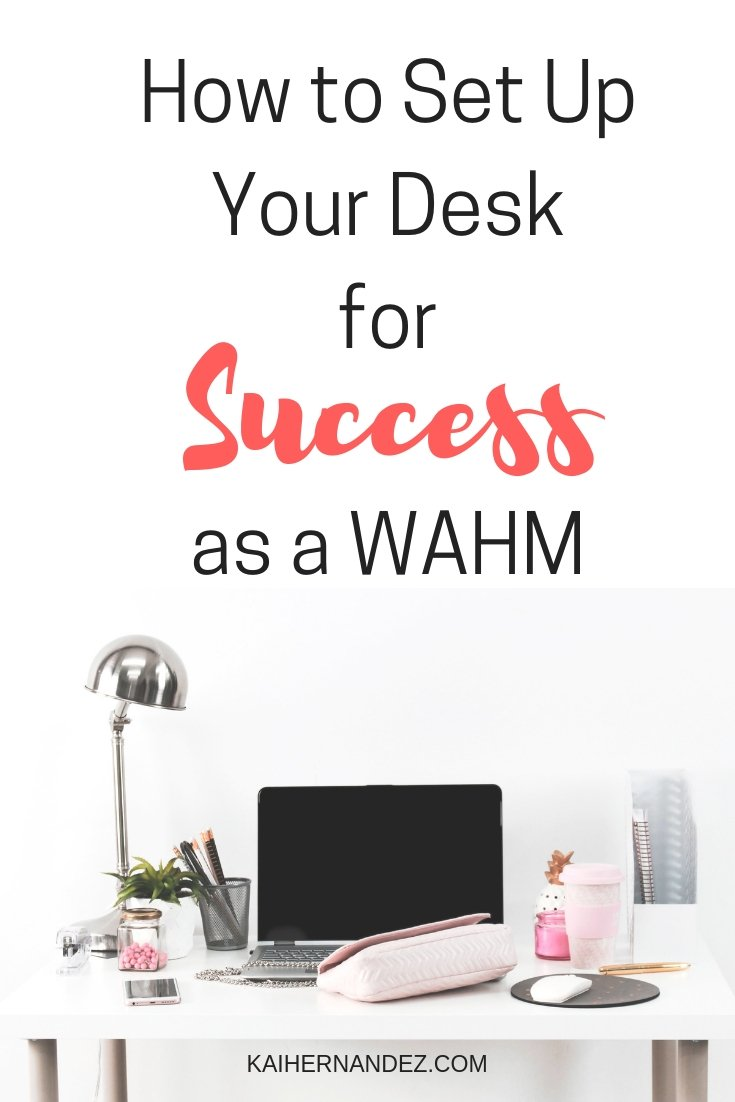 "image of desk with laptop, lamp, purse, mouse, etc. containing text overlay ""How to Set Up Your Desk for Success as a WAHM"""